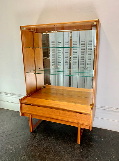 Vintage Glass Cabinet Cupboard #D129