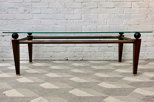 Vintage Glass Coffee Table Large Rectangular #D234
