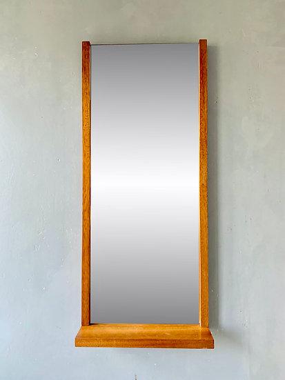Vintage Teak Wall Mirror with Shelf Rectangular #D364