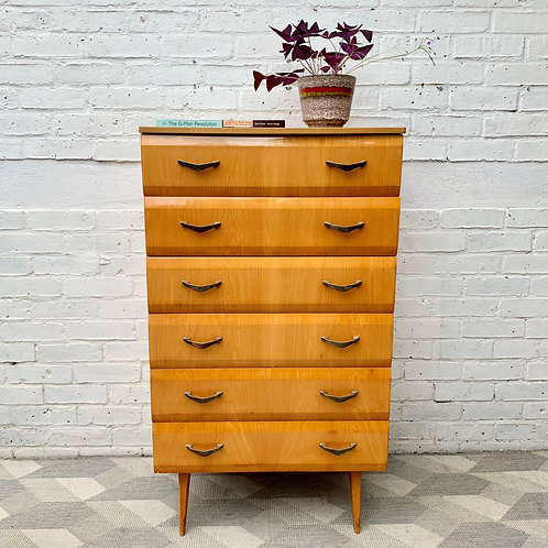 Vintage Tallboy Chest of Drawers Bedroom Meredew #D383