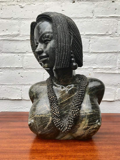 Shona Sculpture of African Lady Bust #707