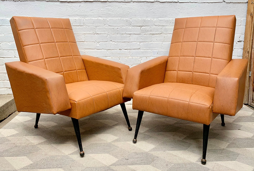 Vintage Pair of Brown Vinyl Armchairs French #D407