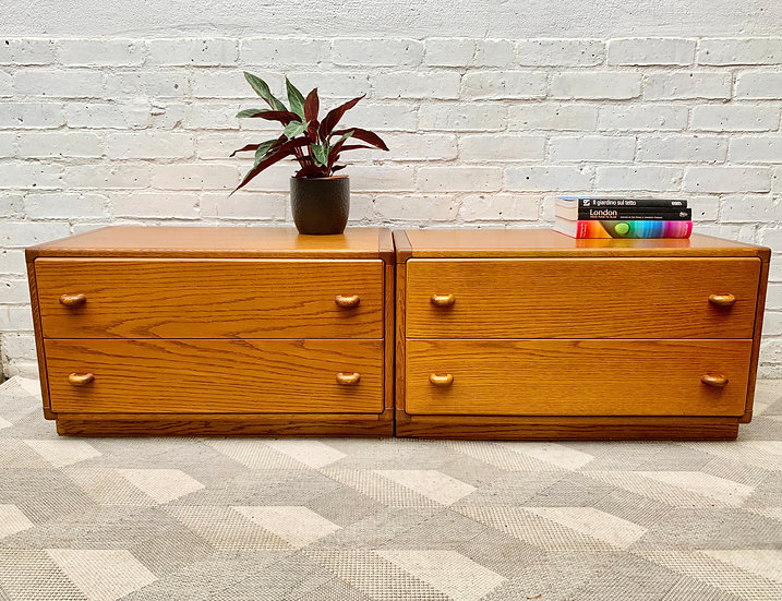 Vintage Pair of Small Oak Drawers by Stag style