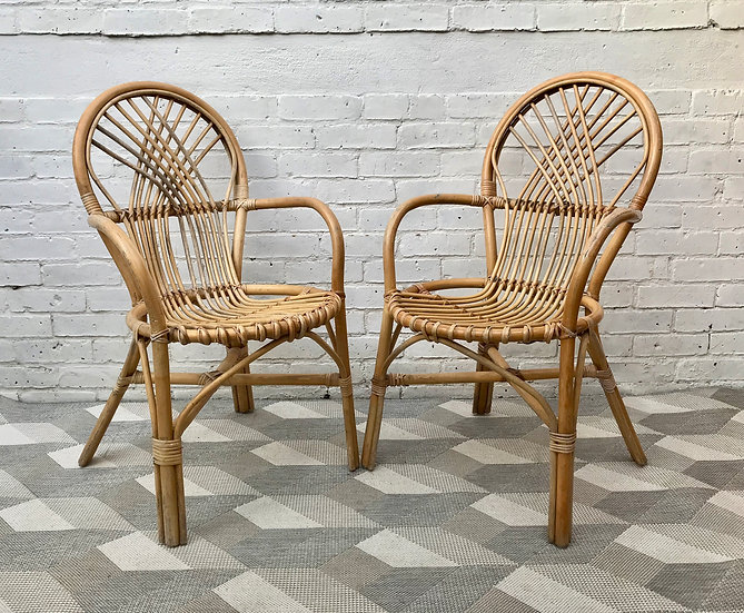 Pair of Bistro Chairs Wicker Cane #628