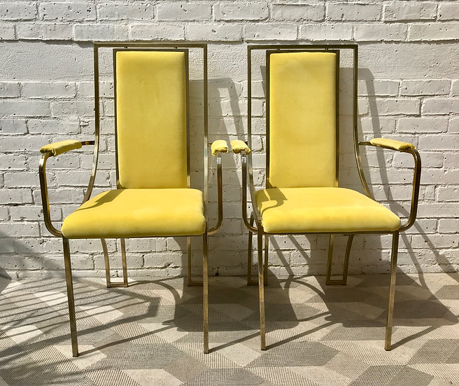 Pair of Vintage Carver Chairs Metal Yellow #669