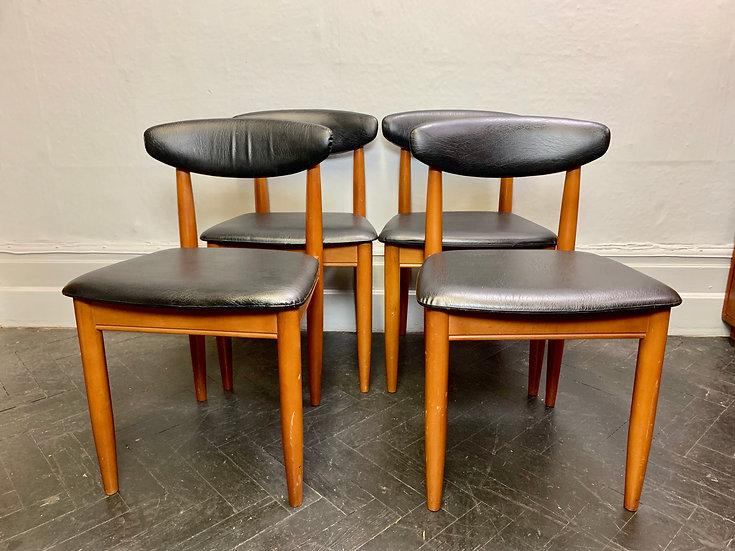 Set of 4 Vintage Dining Chairs Black Vinyl #D49