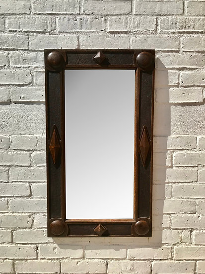 Vintage Arts and Crafts Mirror Wooden #761