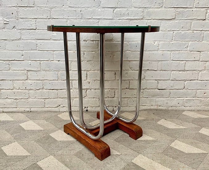Art Deco Round Side Table Chrome and Glass #D486