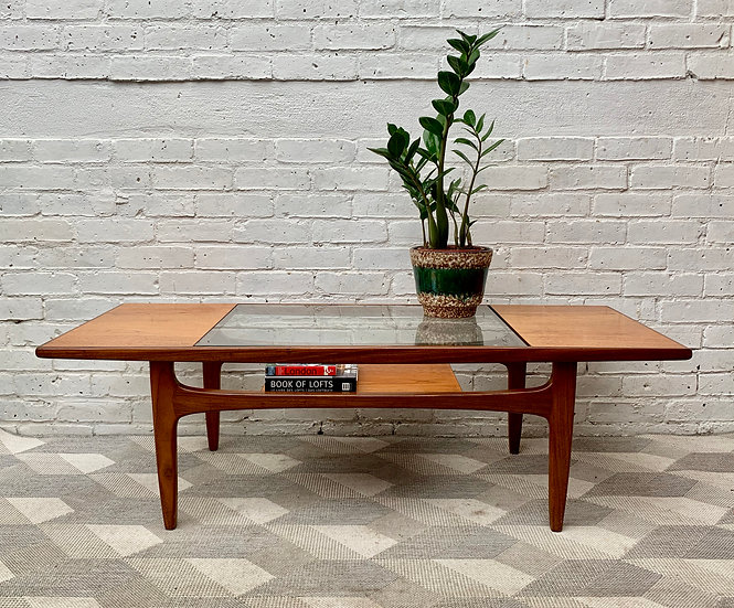 Vintage Teak Coffee Table with Glass #910
