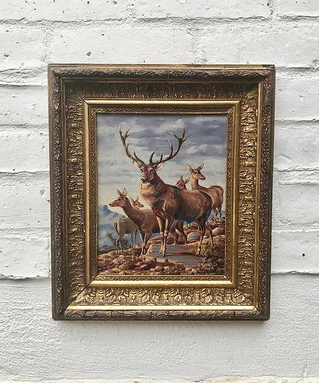 Victorian Oil Painting Deer Stag Guilt Frame #829