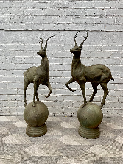 Pair of Cast Iron Deer Statues Sculptures #973