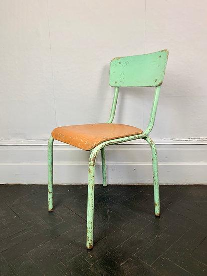 Vintage Desk Chair Metal Wood School #797