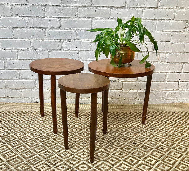 Nested Round Wooden Side Tables #383