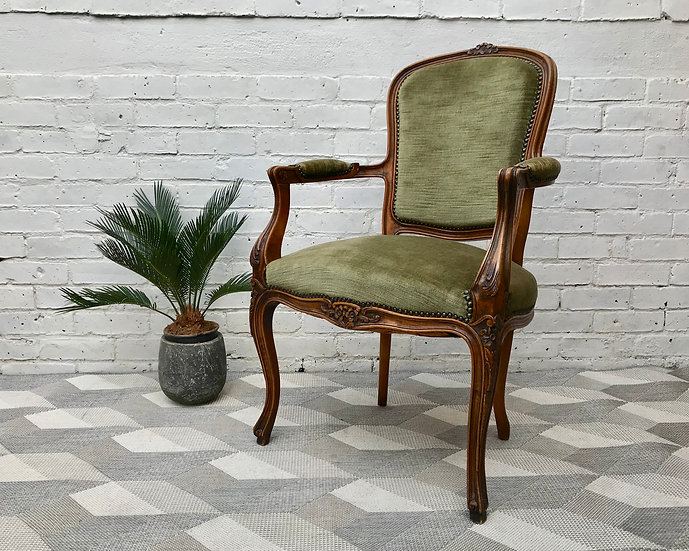 Louis XVI Style Wooden Chair Fauteuil French #609