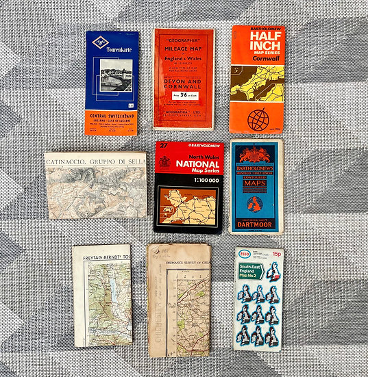 Collection Of Vintage Maps, UK, Germany, Italy