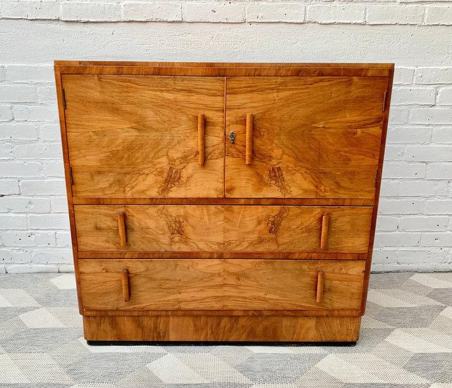 Vintage Art Deco Linen Cabinet Drawers front