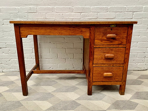 Vintage Wooden Desk with Drawers Oak #D515