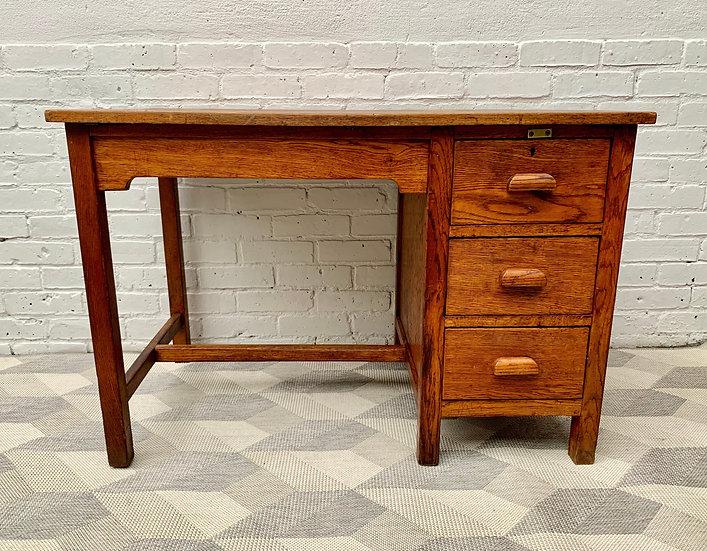 Vintage Wooden Desk with Drawers Oak #D515
