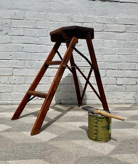 Vintage Antique Wooden Step Ladder Folding #D98