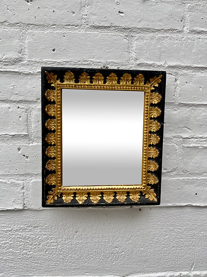 Small Antique Rectangular Mirror Black and Gold Frame
