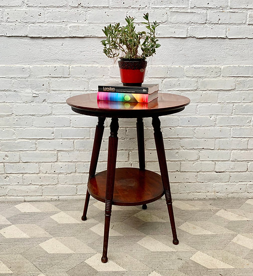 Vintage Round Wooden Side Table 2 tiers from USA #D492