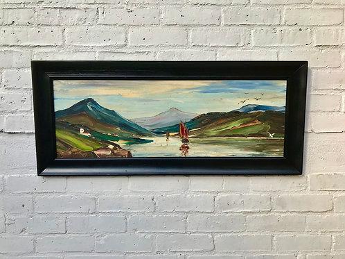 Vintage Landscape Oil Painting of Fishing Boat #432