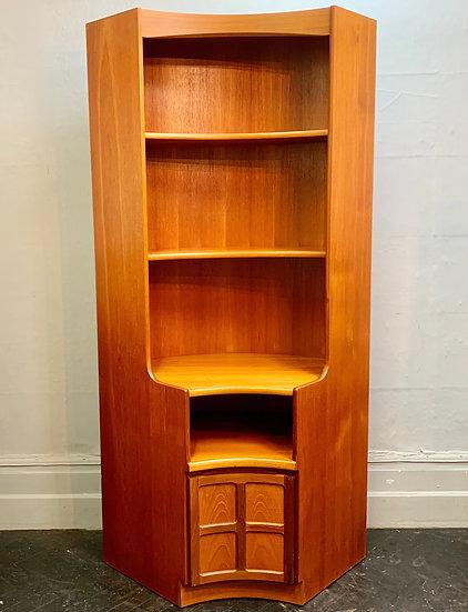 Large Vintage Corner Cabinet Bookshelf by Nathan #D468