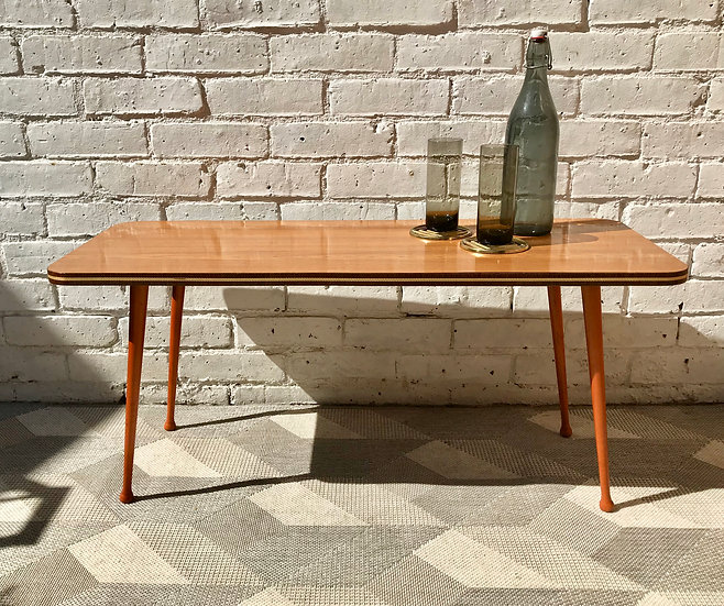 Vintage Long Coffee Table Formica Wood #740