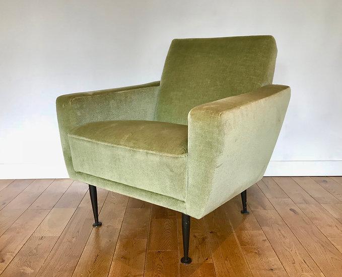 Vintage Retro Armchair Green Velvet French #828