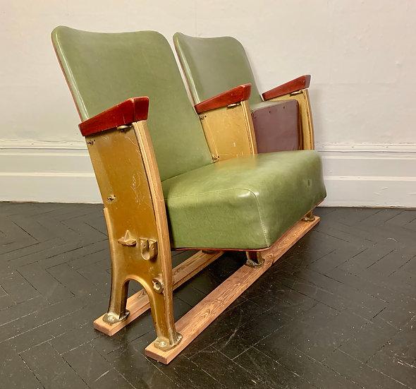 Vintage Cinema Theatre Seats Green Vinyl #904