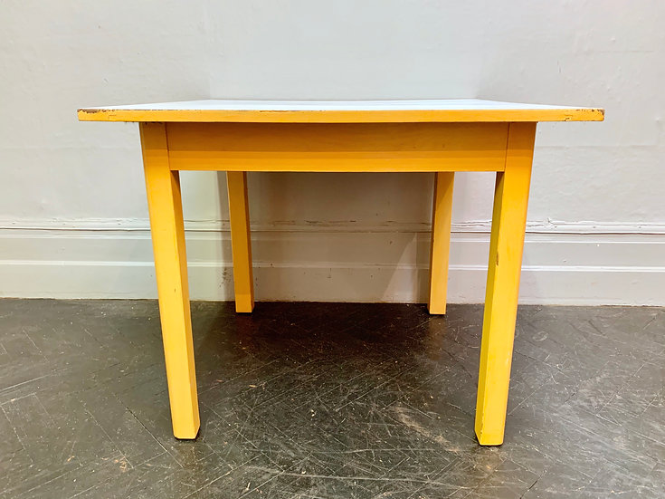 Vintage Wooden Dining Table Square Formica Top