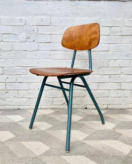 Vintage Desk Chair Metal Wood School #D6