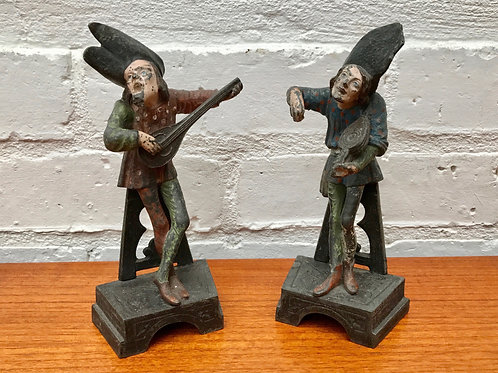 Vintage Spelter Musician Figurines Ornaments #390