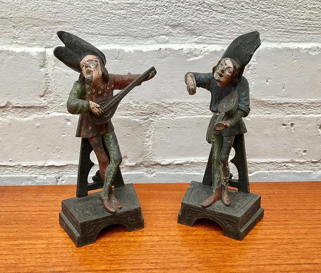 Vintage Spelter Musician Figurines Ornaments #390