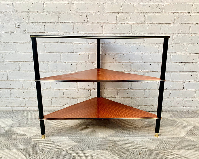 Vintage Corner Side Table Teak front