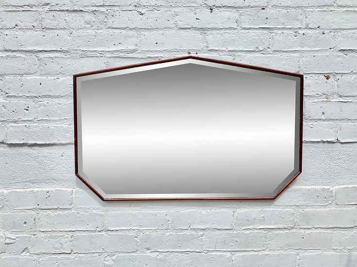 Vintage Heptagon Wall Mirror Wood Frame #D83