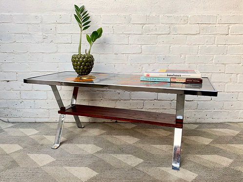 Vintage Tiled Coffee Table Chrome