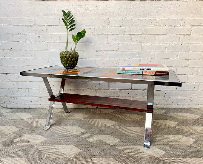 Vintage Tiled Coffee Table Chrome