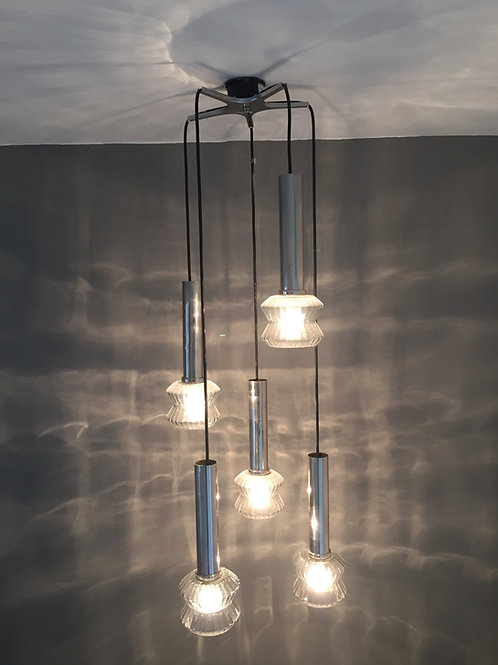 1960s ITALIAN CHROME PENDANT WITH SMOKED GLASS SHADES