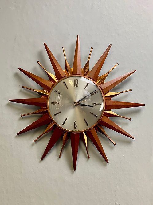 Vintage Metamec Starburst Wall Clock Teak Copper #964