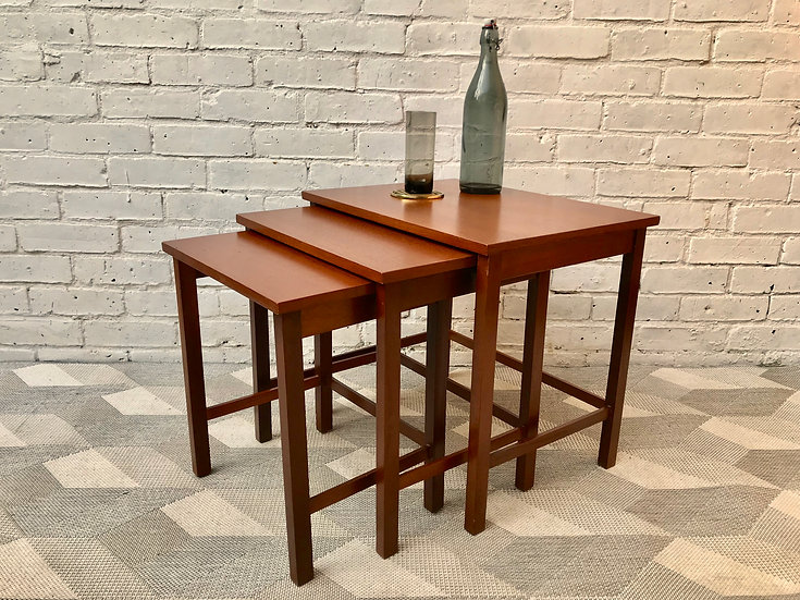 Nest of Tables Wooden Vintage Retro #697
