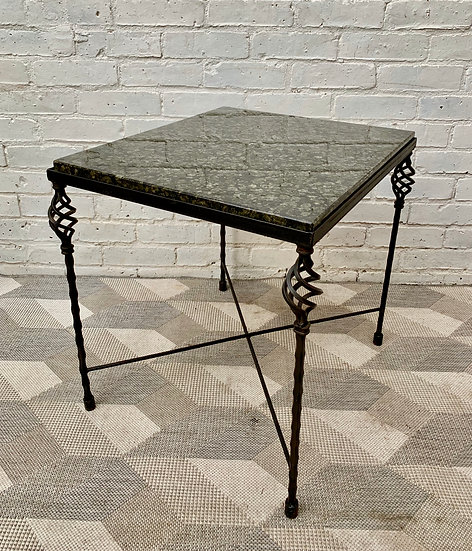 Green Granite Side Table Wrought Iron Base #908