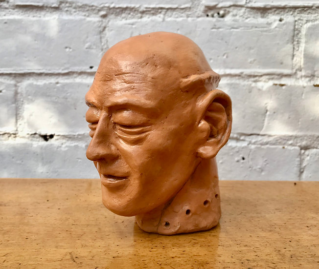 Vintage Sculpture Man's Bust Head from Clay #D443