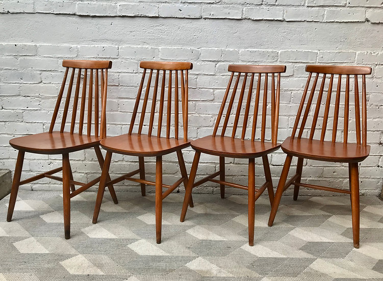 Set of 4 Vintage Dining Chairs Wooden #825