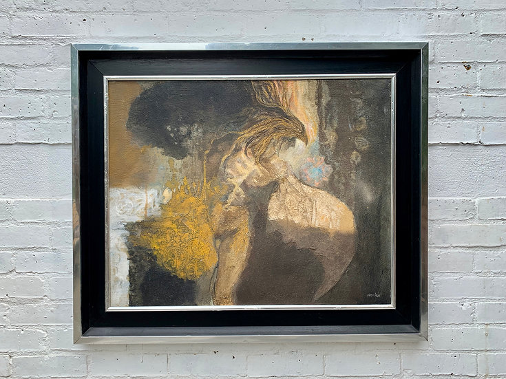 Vintage Abstract Painting Surrealism Art 1970s