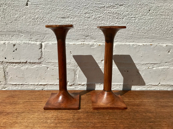 Vintage Wooden Candle Sticks Pair