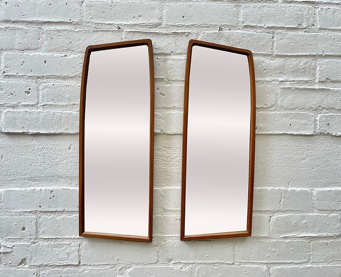 Small Pair of Vintage Teak Wall Mirrors