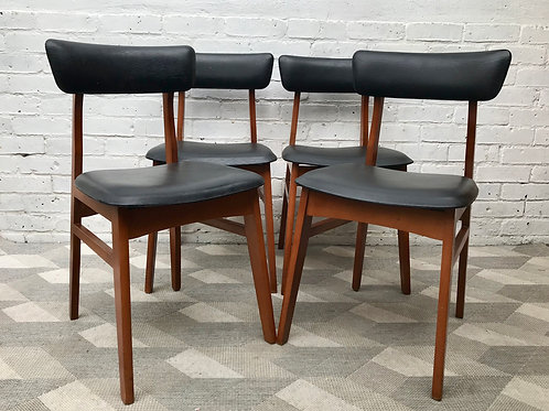 4 x Vintage Retro Black Vinyl Dining Chairs #778