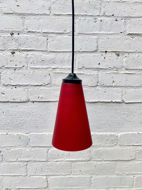 Pendant Light with Red Glass Shade #D21