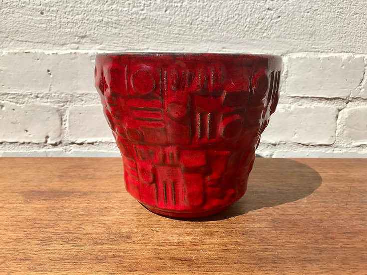 Vintage Retro Plant Pot Planter Red #727